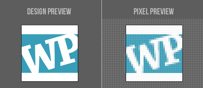 pixel preview of logo design